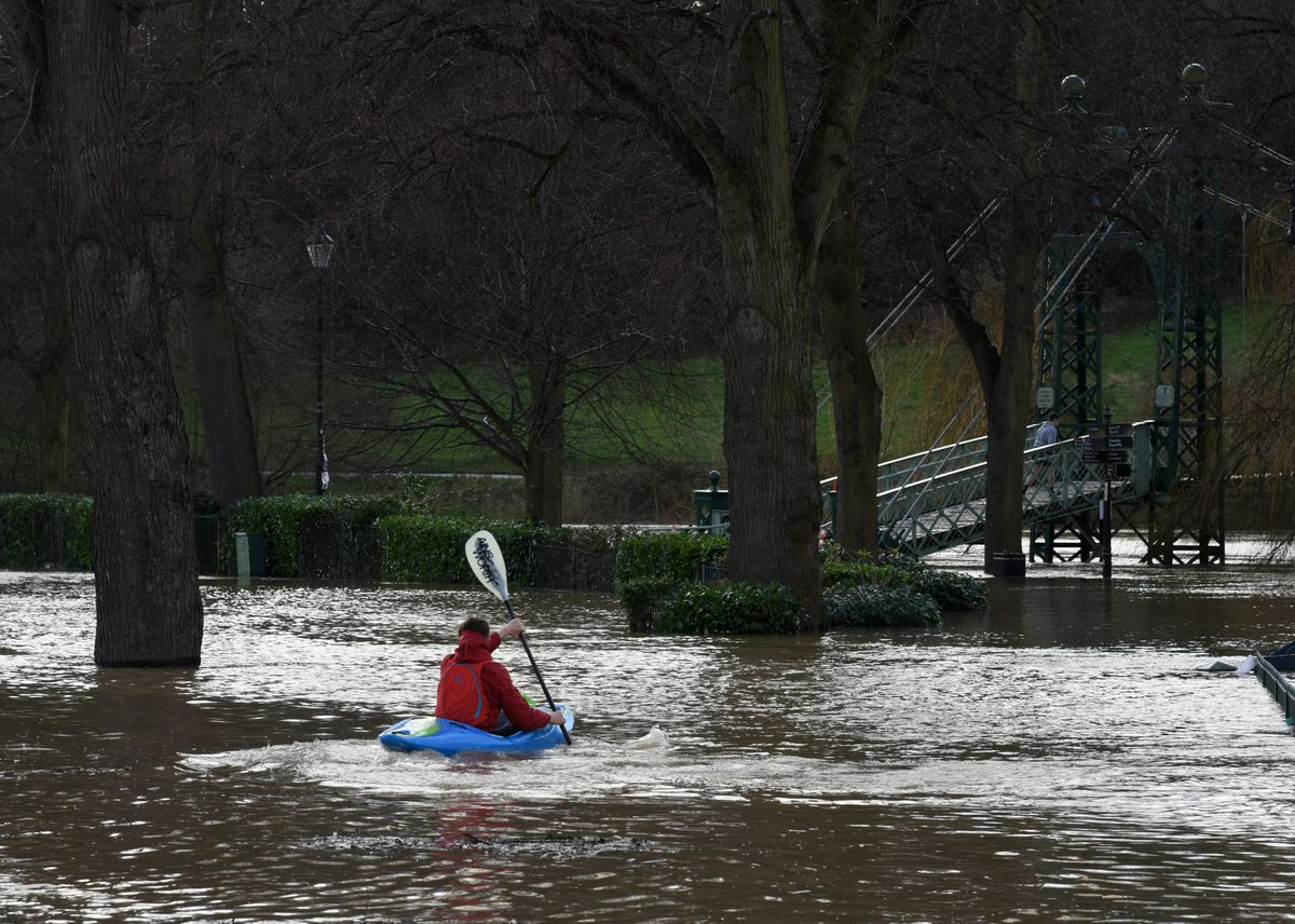Flooding in the Quarry Park, Shrewsbury, on Monday afternoon. Photo: Russell Davies