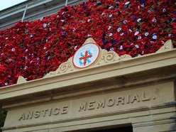 Thousands of poppies draped over Telford's landmark Anstice building for Remembrance Sunday