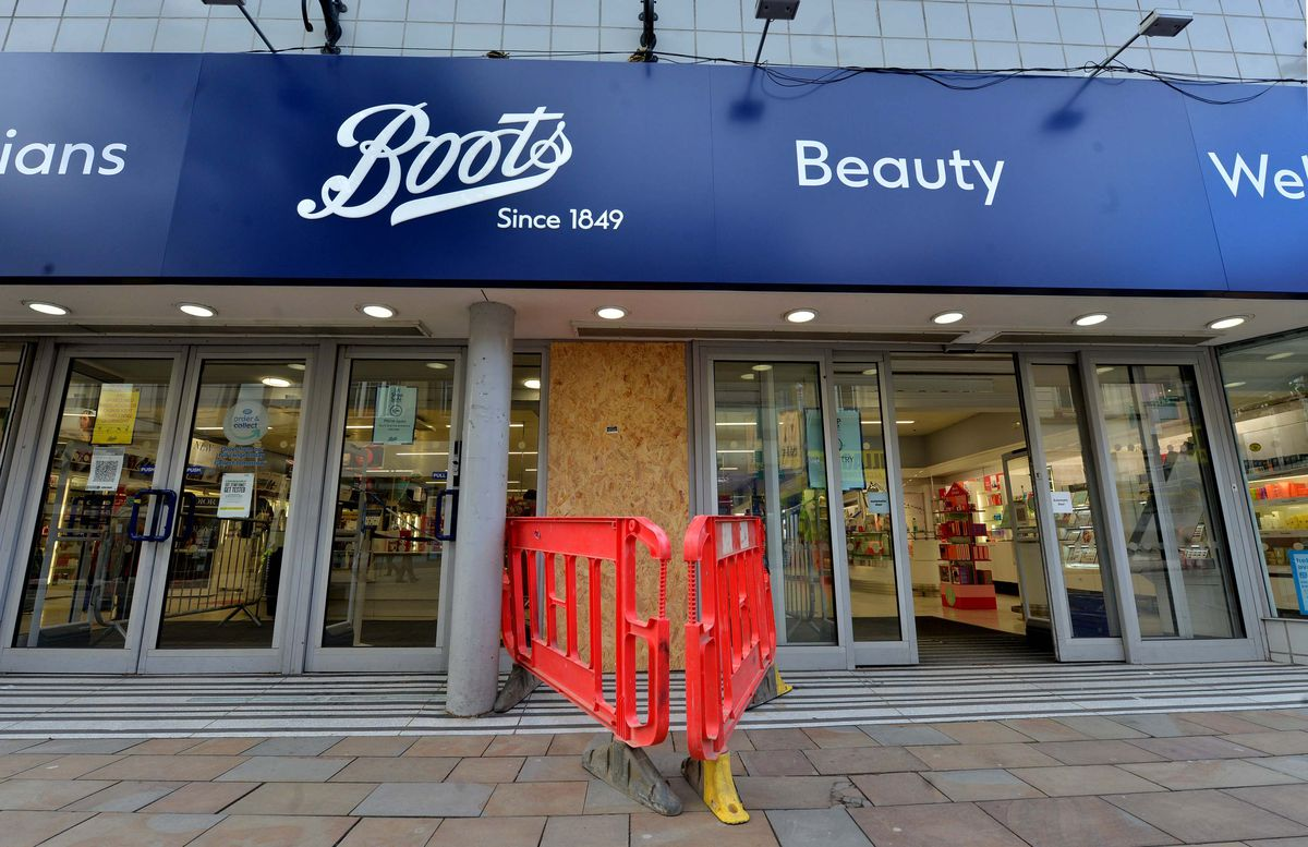 Boots in Dudley Street, Wolverhampton, was boarded up after the ram raid