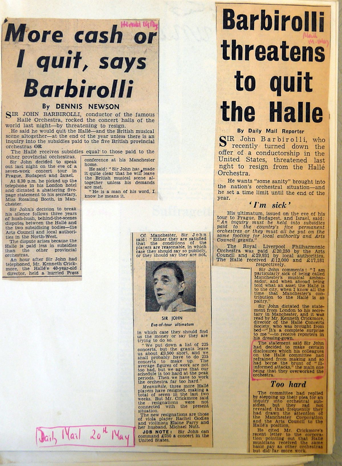Press cuttings which followed the fall-out from Malcolm Tillis's controversial book Chords and Discords