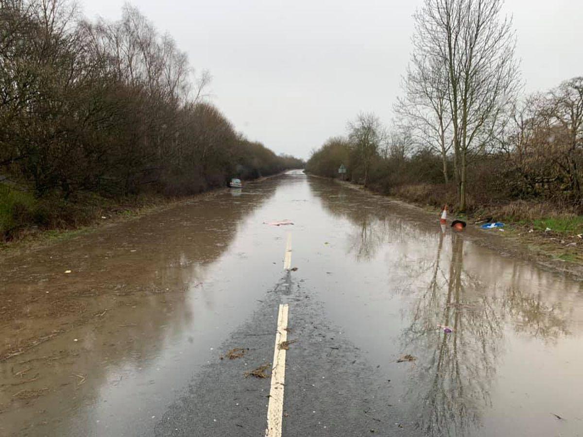 Storm Dennis flooding on the A5 near Gobowen. Photo: Jack Roberts
