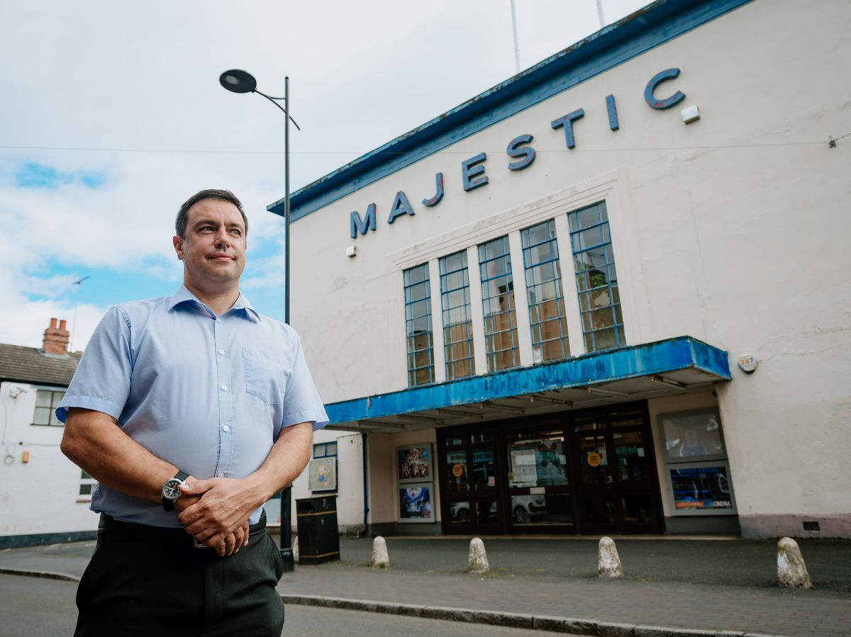 James Frizzell outside the Majestic Cinema