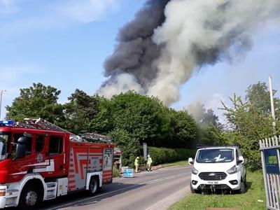 30 firefighters tackle blaze as industrial estate near Shrewsbury evacuated