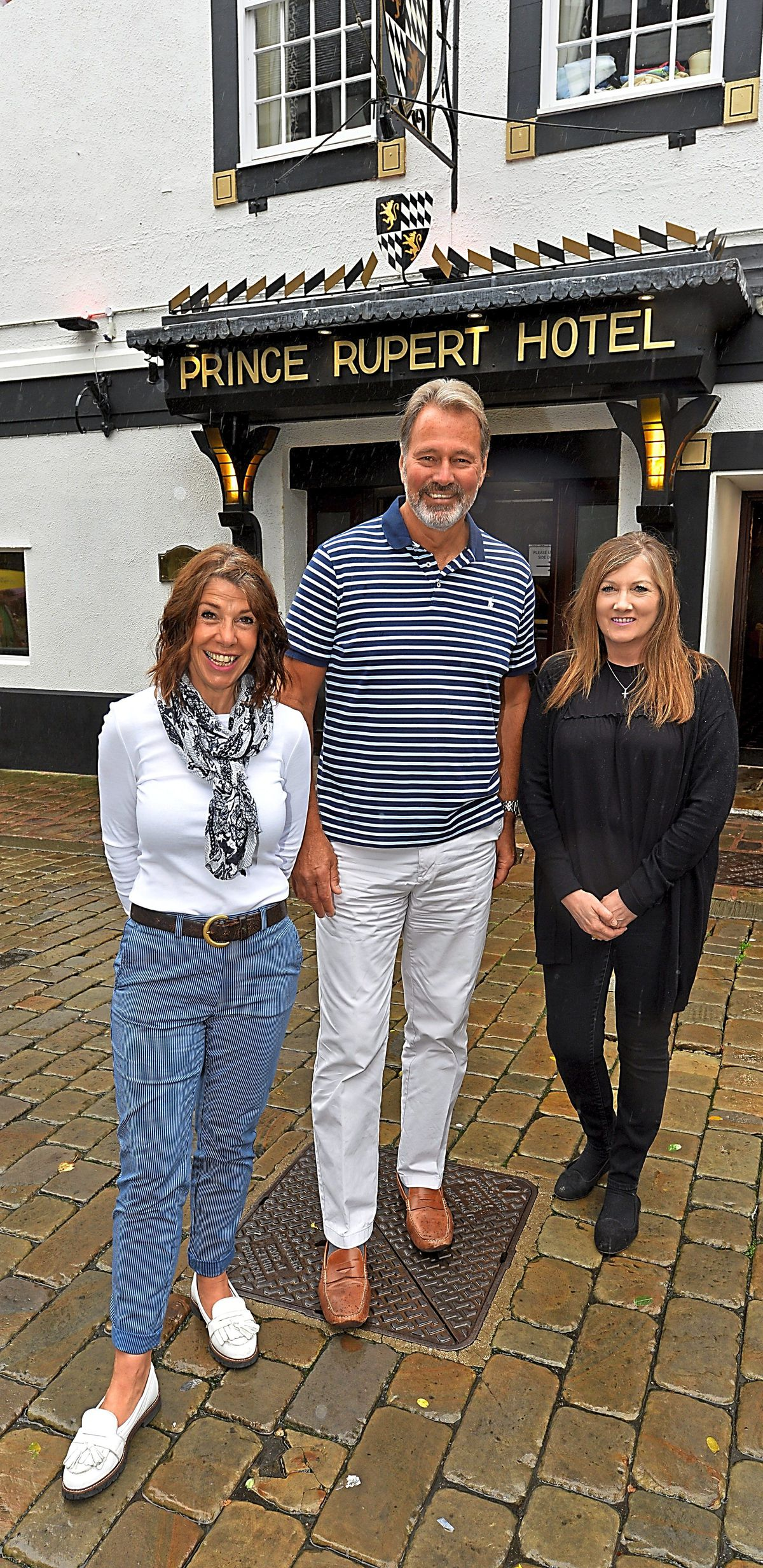 Staff at The Prince Rupert Hotel, Shrewsbury, who have not been home since March, from left, Charlie Green, Mike Matthews and Jacki Law