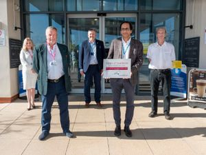 Back, from left; Victoria Sugden, League of Friends Charity Director; Mark Brandreth, Chief Executive at RJAH; and David Charles Jaffray, Consultant Spinal Surgeon. Front from left; Peter David, League of Friends Chairman and Birender Balain, Consultant Orthopaedic Surgeon