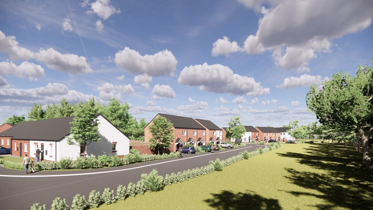 An artist's impression of proposed homes south of Newcomen Way, Woodside, Telford.