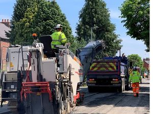 Work being carried out on the A495 Station Road, Whittington