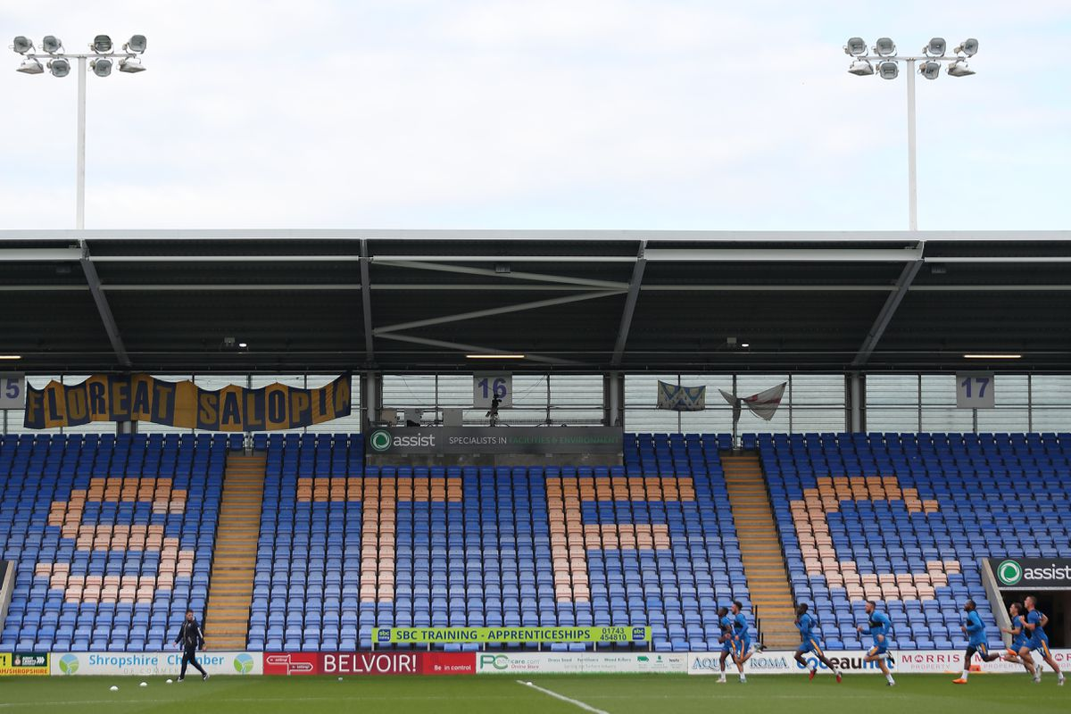 A General view of the Montgomery Waters Meadow Stadium home stadium of Shrewsbury Town. (AMA)