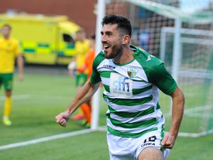NORTH COPYRIGHT MIKE SHERIDAN GOAL. Louis Robles(18) of TNS scores to make it 1-0 during the Europa League qualifying fixture between TNS (The New Saints)(WAL) and MSK Zilina (SVK) at Park Hall, Oswestry on Thursday, August 27, 2020. ..Picture credit: Mike Sheridan/Ultrapress..MS202021-021.
