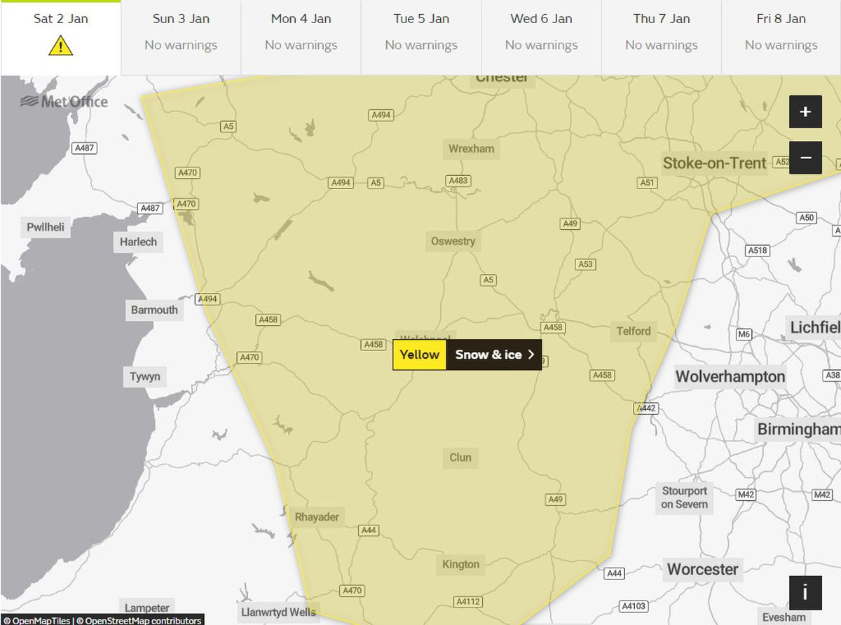 A yellow snow and ice warning has been issued for Shropshire and the West Midlands. Picture: Met Office