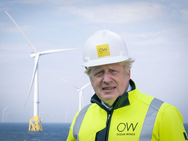 Prime Minister Boris Johnson onboard the Esvagt Alba during a visit to the Moray Offshore Windfarm East, off the Aberdeenshire coast
