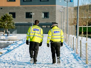 Police on patrol in Southwater, Telford after heavy snow