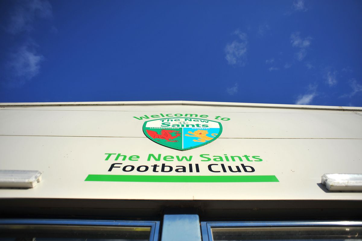 A general view of signage at Park Hall Stadium