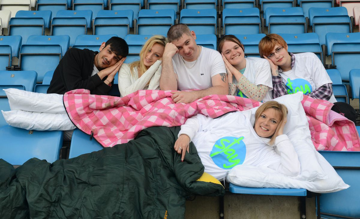 Connor Owen, Pippa Brown, Anthony Vale, Antonia Weaver, Sharna Gray and Kay Bennett (front) taking part in the Stay Charity Sleepover at AFC Telford United's Ground. Picture by Sam Bagnall.