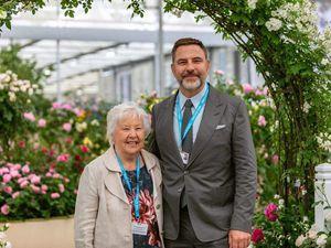 David Walliams and his mum at the David Austin Roses exhibit at Chelsea Flower Show