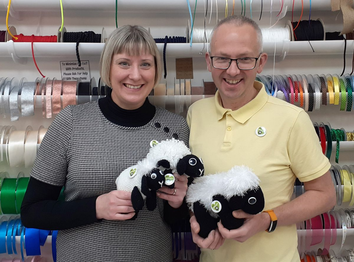 Husband and wife Adrienne and Dave Taylor with some of the sheep. Adrienne runs the Daberhashery in Wellington market and Dave owns Saturday Cycles in the town.