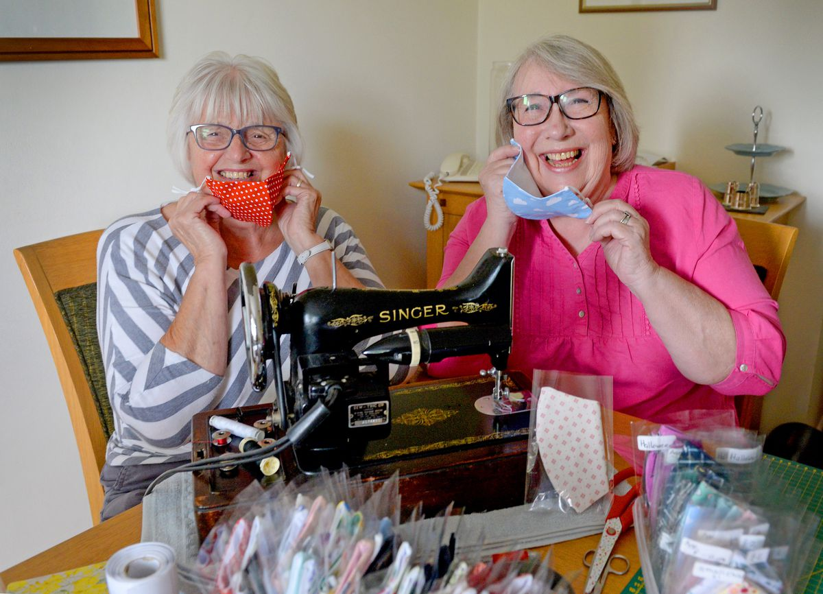 Suzanne Harrison and Maureen Warrilow have been making face masks for Midlands Air Ambulance