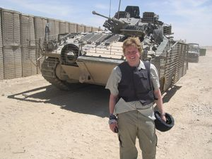 Former Chronicle reporter James Holt is pictured at the front line in Iraq in May 2006.