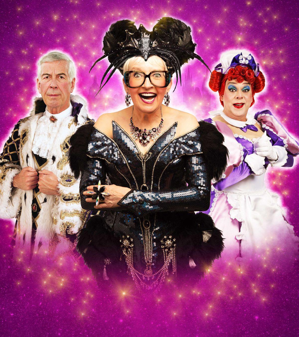 Su Pollard as Queen Rat, Jeffrey Holland as Alderman Fitzwarren and Ian Adams as Dame in Dick Whittington
