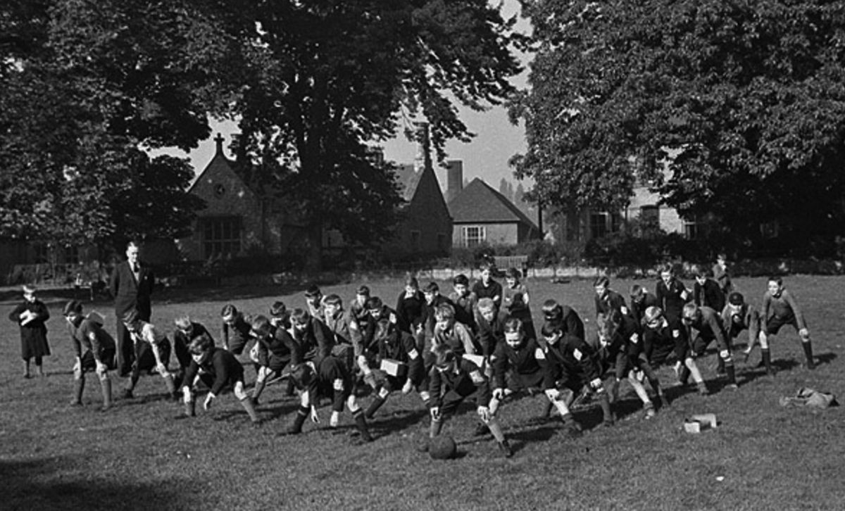 Boys from Birkenhead Institute doing PE at Oswestry High School after their evacuation in September 1939. Picture: The Geoffrey Charles Collection.