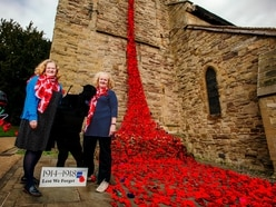 Waterfall of poppies at Cleobury Mortimer church to remember war
