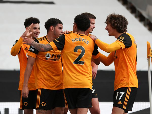 Morgan Gibbs-White of Wolverhampton Wanderers celebrates after scoring a goal to make it 2-1.