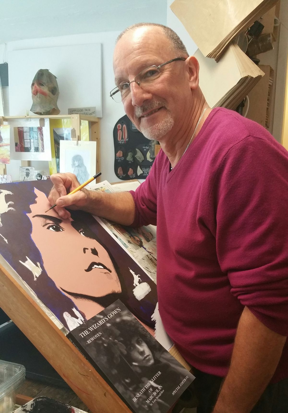 Tony Stringfellow, working on a painting of his hero Marc Bolan