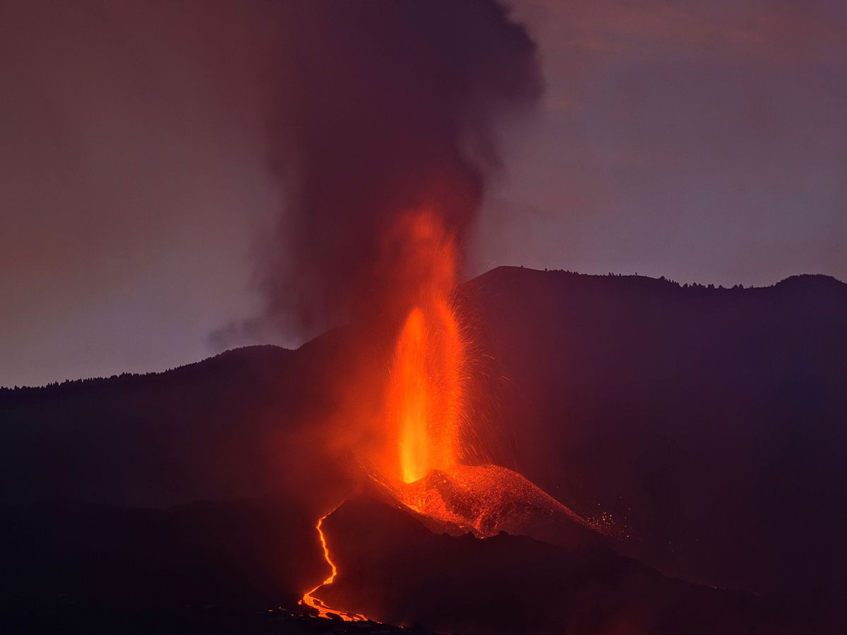 Lava flows from a volcano on the Canary island of La Palma, Spain, in the early hours of Sunday