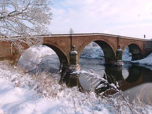 Llandrinio Bridge which has been subject to repairs over the years