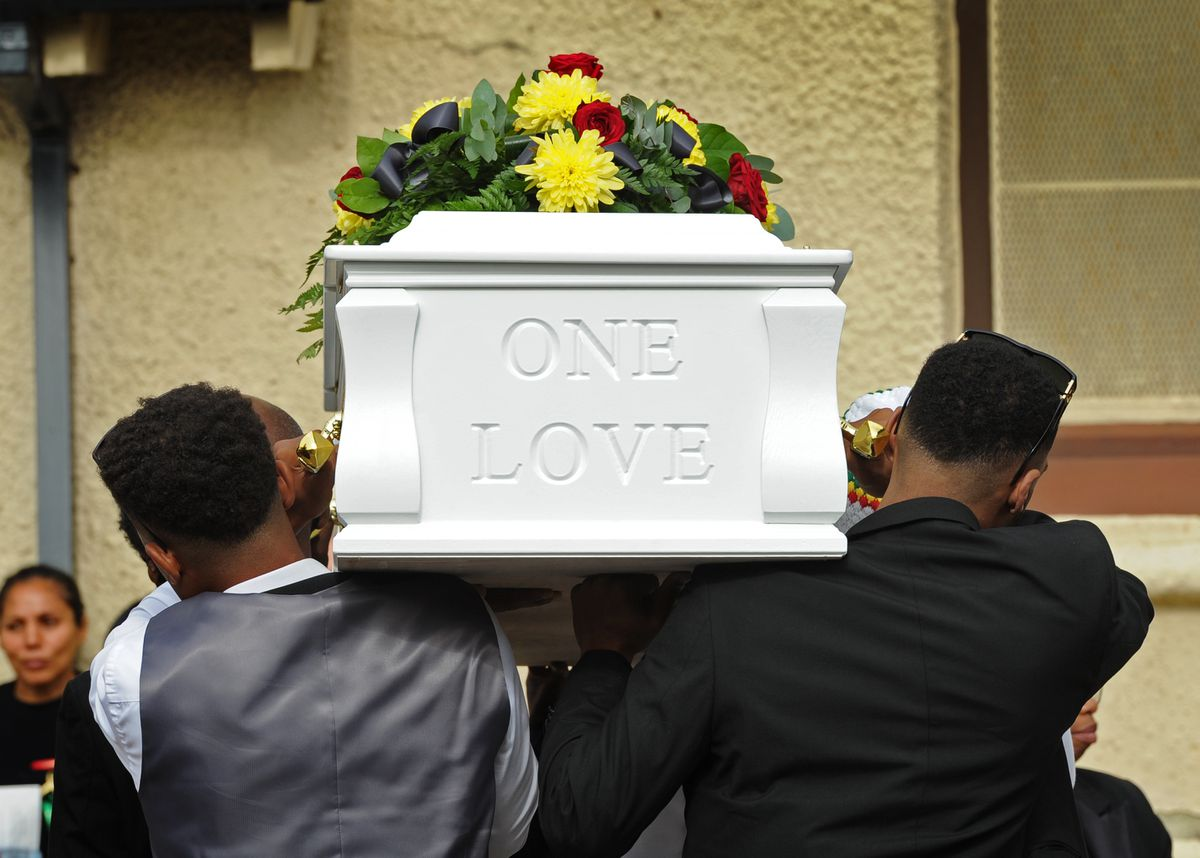 Close family members carried Paulette's coffin into the funeral