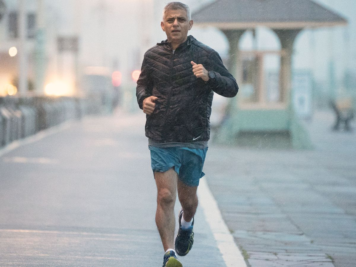 Mayor of London Sadiq Khan runs along the seafront in Brighton where the Labour Party is holding its conference