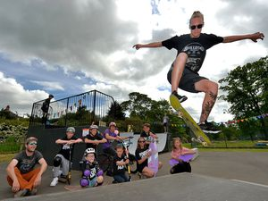 Tom Rochester watches on as Jay Skinner flys through the air in Church Stretton skate park
