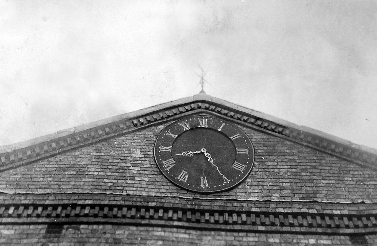 Spot the similarity. The Broseley Town Hall clock in September 1963, shortly before the building was demolished.