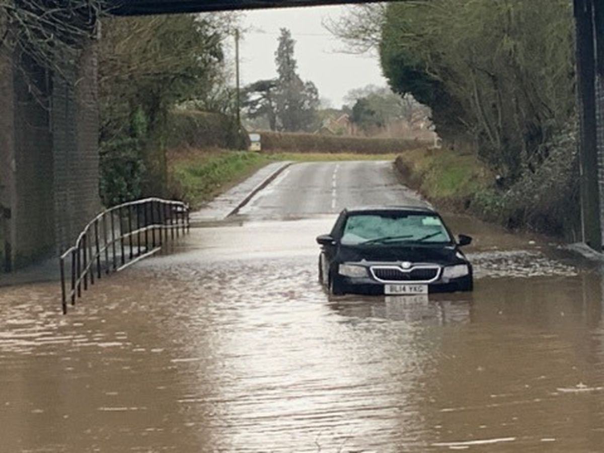 Storm Dennis flooding on Newport Road in Albrighton, a regular flooding spot. Photo: Louise Hall