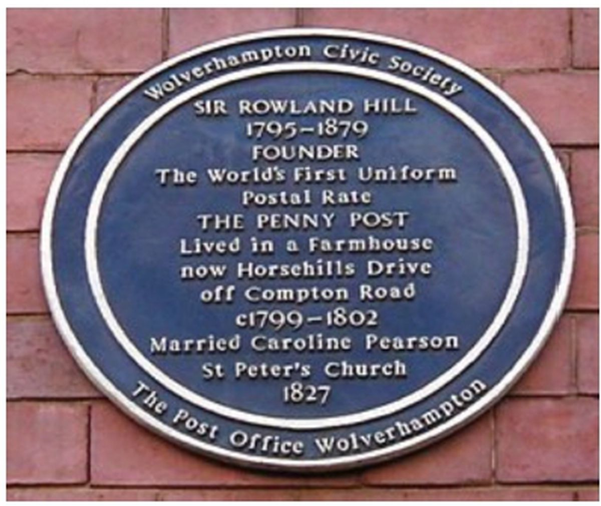 A plaque commemorates Sir Rowland Hill outside the former post office in Lichfield Street, Wolverhampton