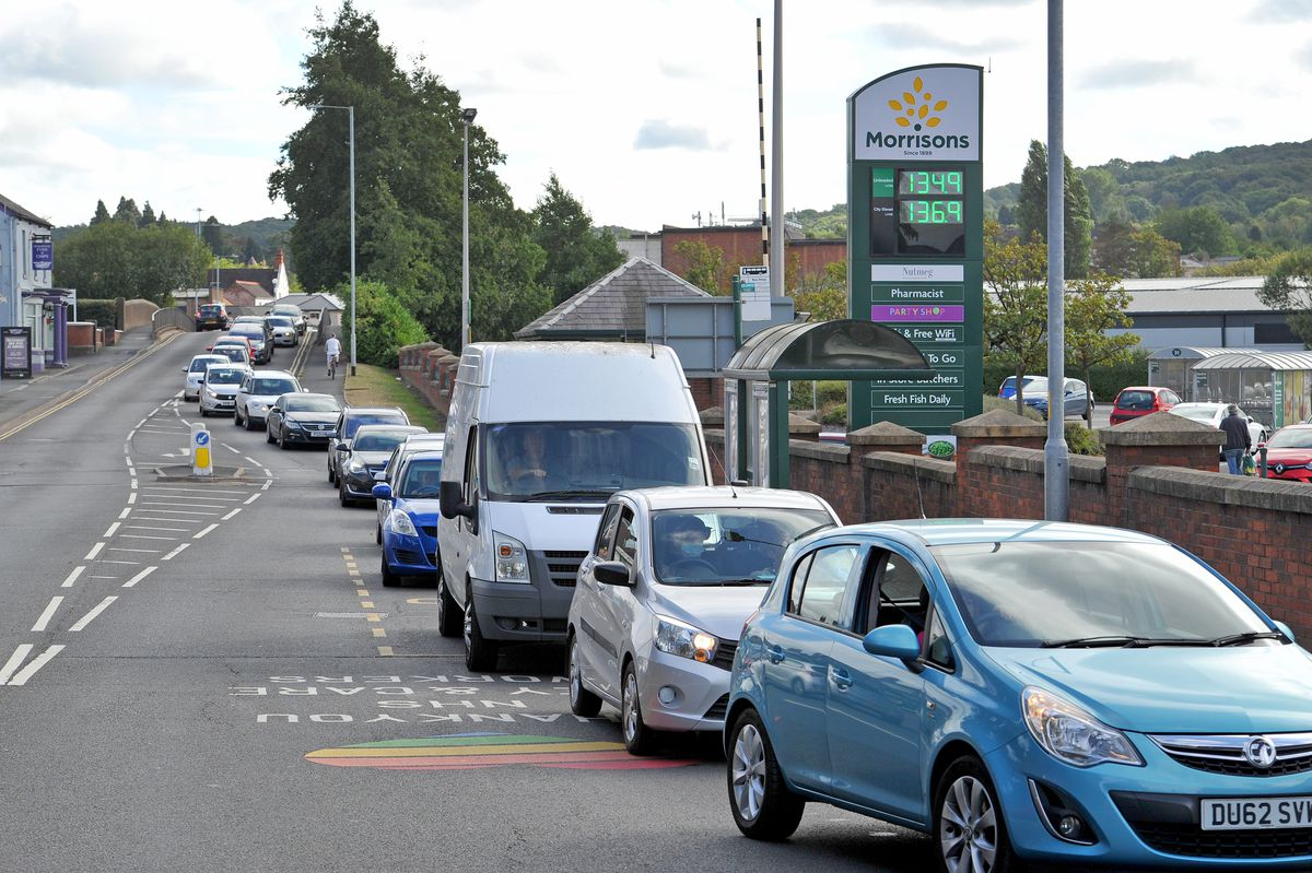Queueing for fuel at Morrisons in Wellington