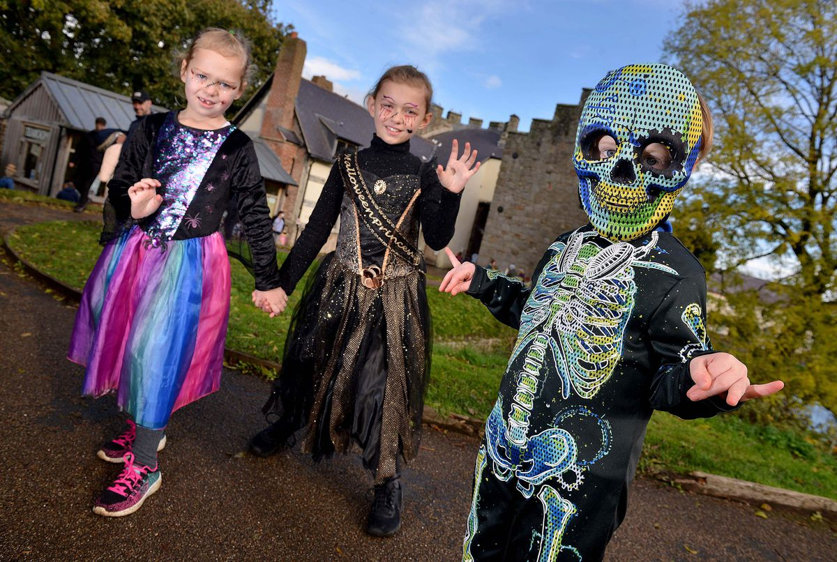 Lottie Griffiths 5, Ella Griffiths, 8, from Condover, and Albie Pritchard, 4