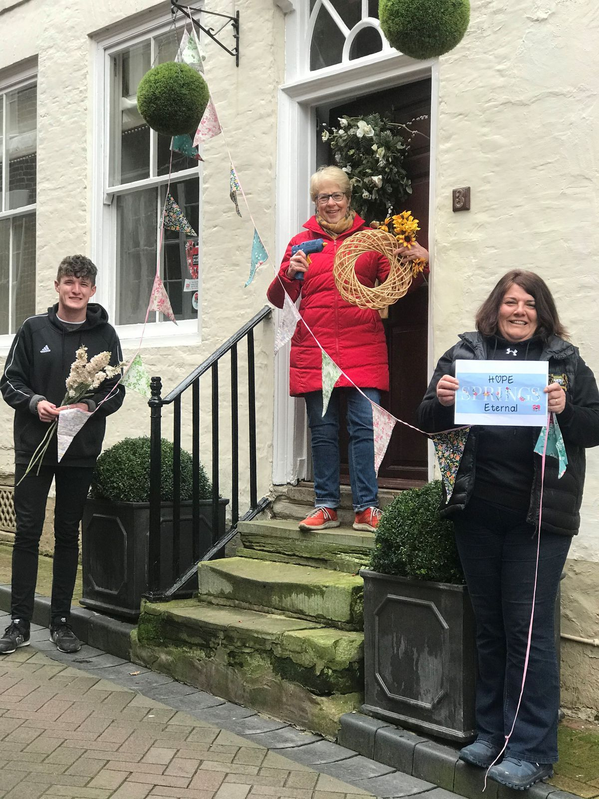 Will Simmons of Blooms of Bridgnorth, Gillie Aked, a high town resident and Bridgnorth WI member and Nerys Arch, low town resident Bridgnorth and Love Bridgnorth administrator
