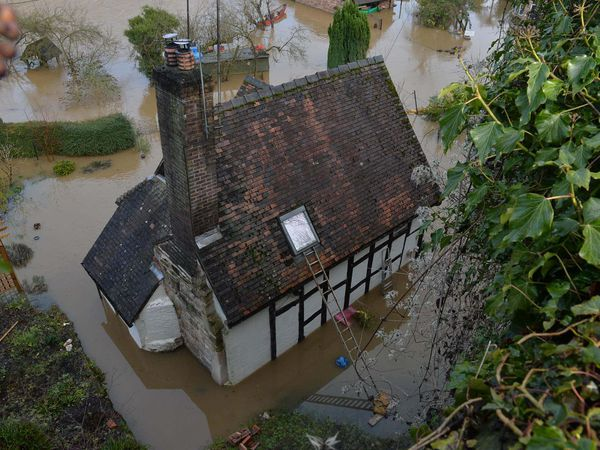 Flooding along the River Severn in Ironbridge
