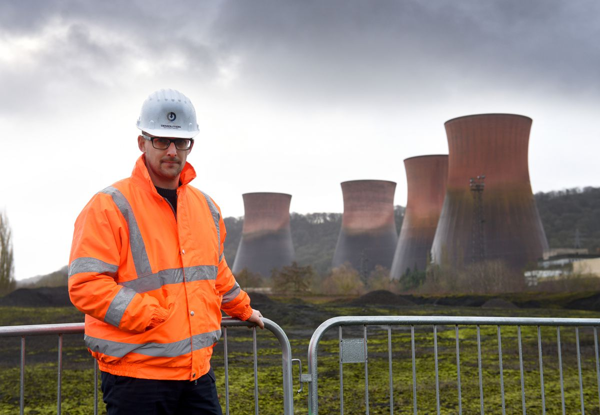 Iain Thompson, head of communications at Harworth, with the cooling towers on their day of demolition