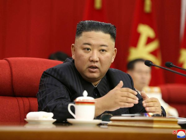 North Korean leader Kim Jong Un speaks during a Workers' Party meeting in Pyongyang on Thursday