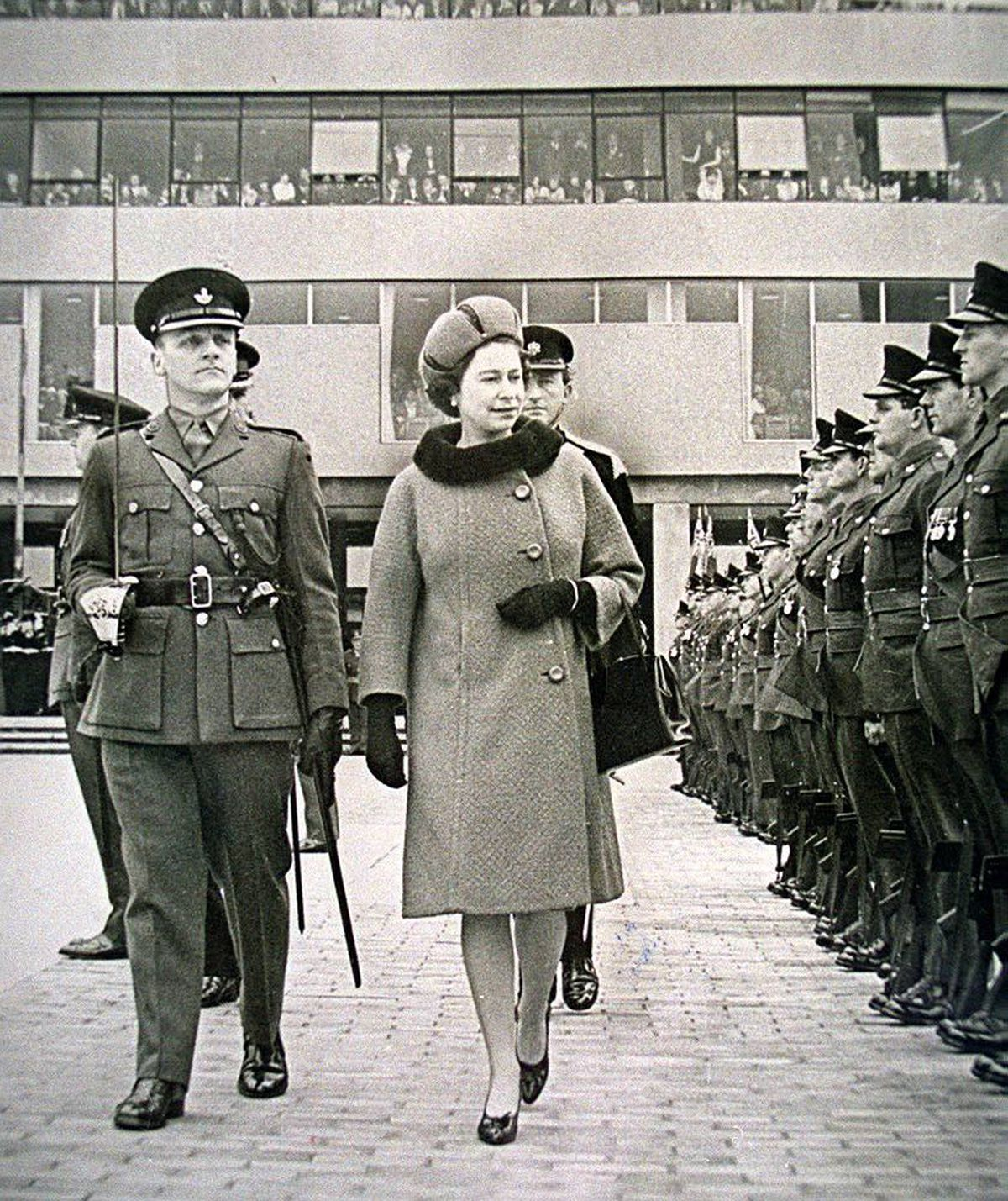 The Queen inspects a guard of honour commanded by Major S E Wardle (left) during the official opening of the new Shirehall, Shrewsbury, on March 17, 1967. This was the last occasion the 4th Battalion of the King's Shropshire Light Infantry paraded – it was disbanded on April 1, 1967.
