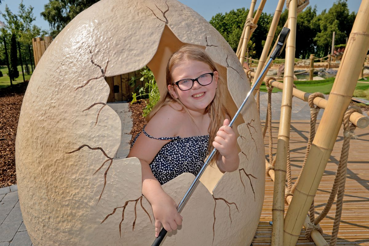 Poppy Rogers, nine, at the new Wolverhampton Adventure Golf, set to open this weekend
