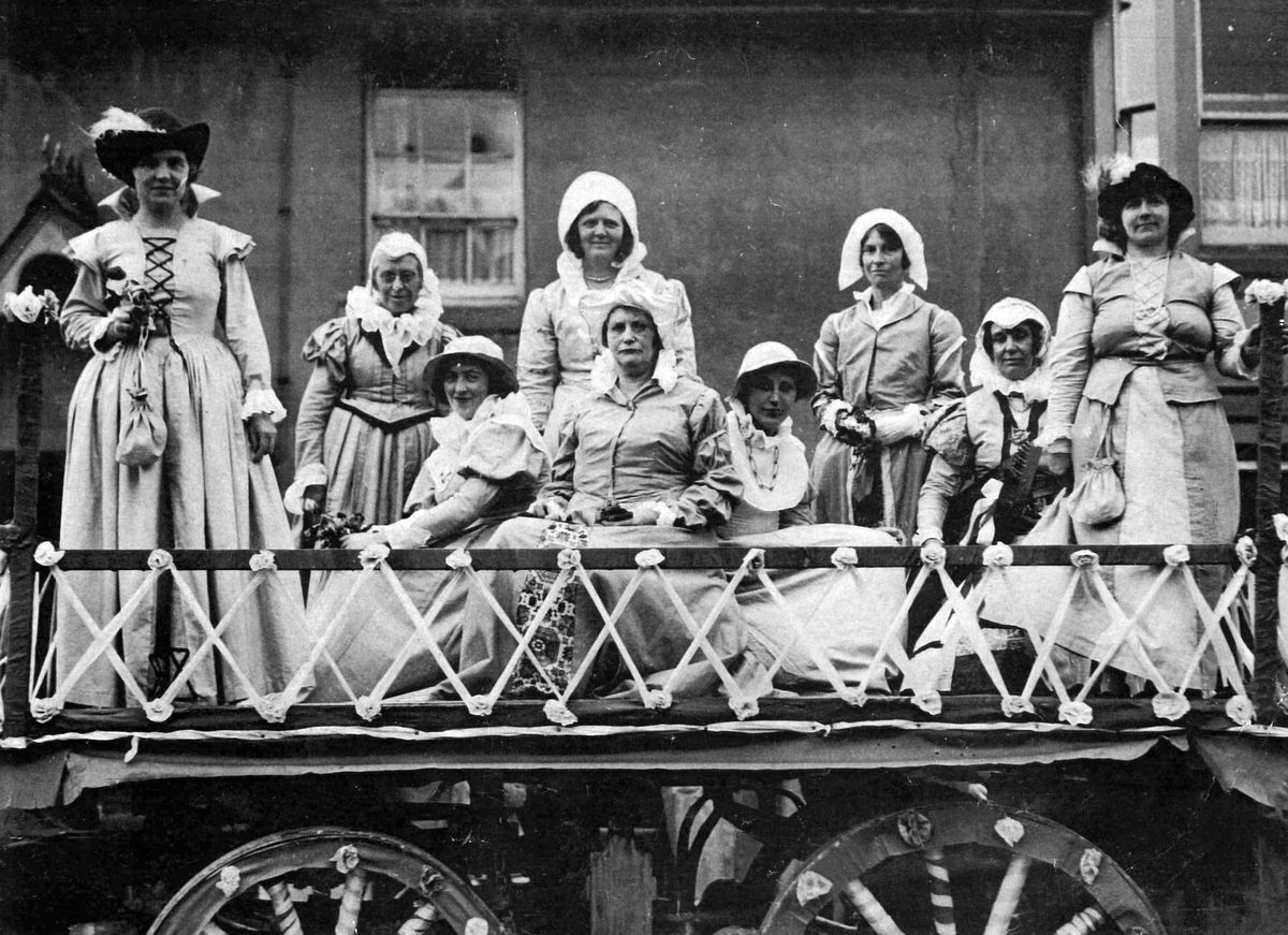 These ladies from Bishop's Castle Women's Institute Choir won first prize for their Elizabethan tableau at the September 1934 town carnival – but were they reprising a role in the historical pageant of a few weeks earlier?