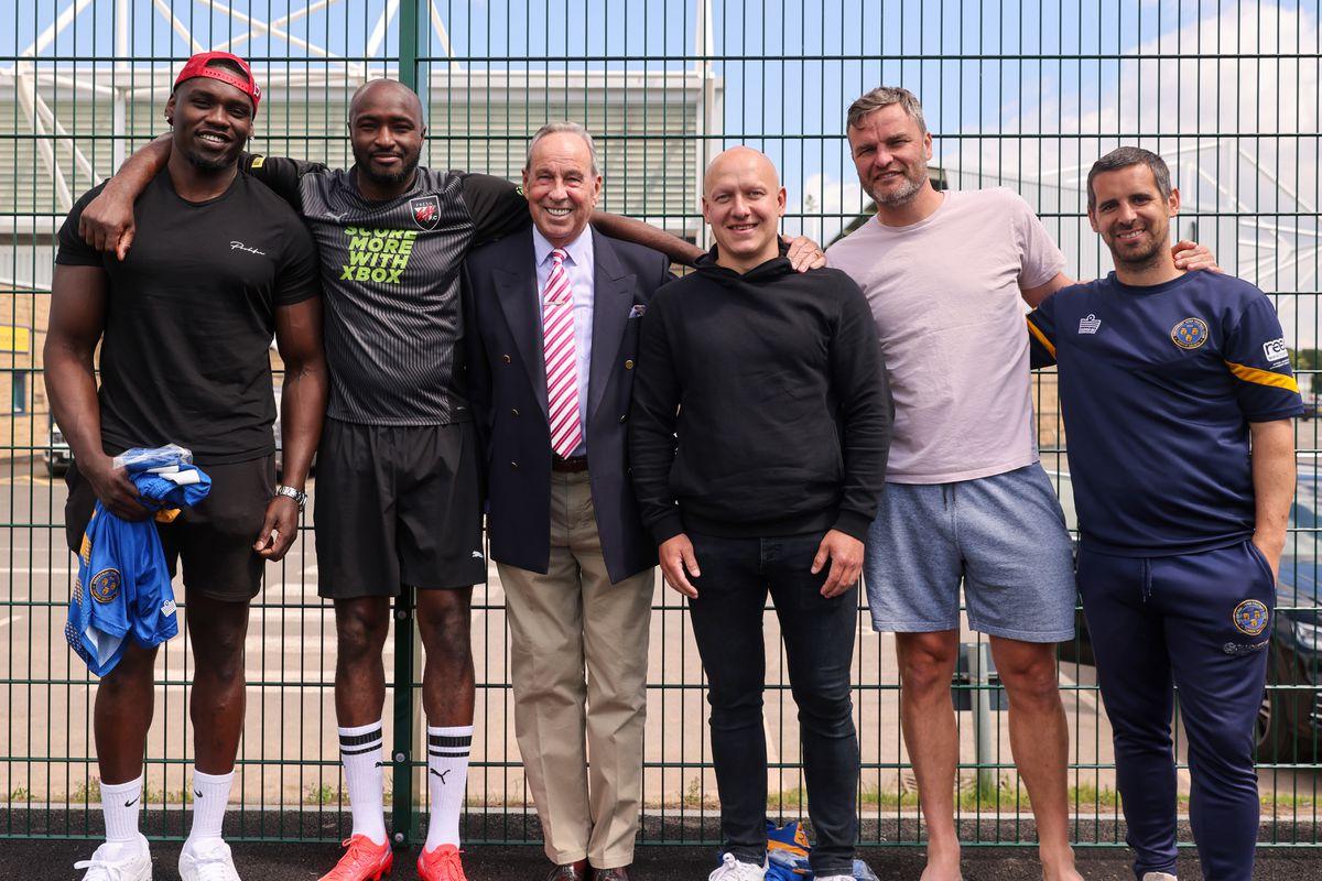 Jermaine Grandison, Marvin Morgan, Shrewsbury Town chairman Roland Wycherley, Matt Richards, Ian Sharps and Sean McAllister - Shrewsbury Town in the Community 3G Pitch official opening. (AMA)