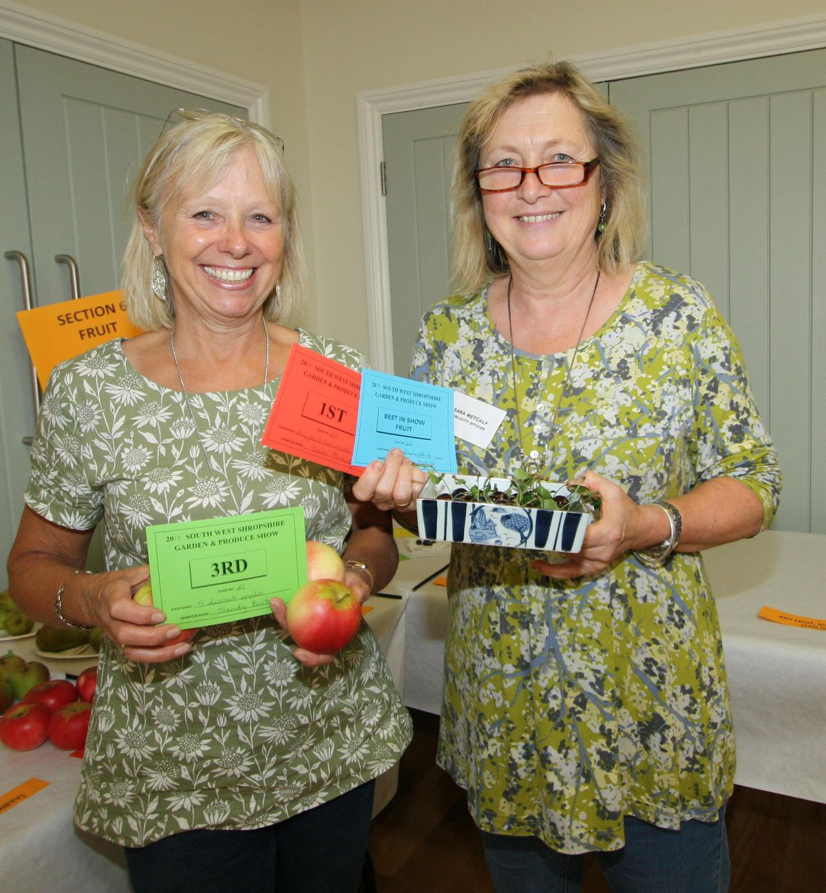 Sandy Burton and Sara Metcalf did well in the fruit classes.