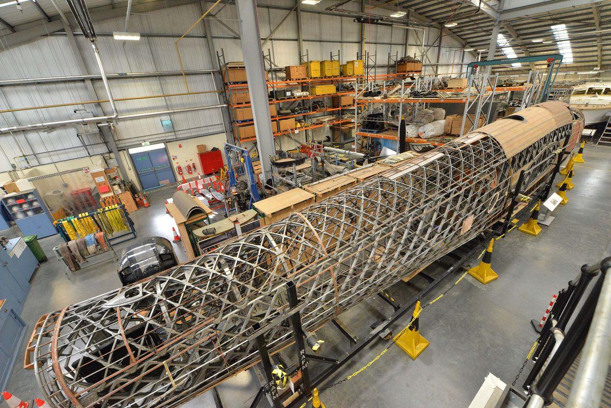A Wellington bomber undergoing restoration work