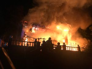 The house was fully ablaze - picture by Staffordshire Fire & Rescue