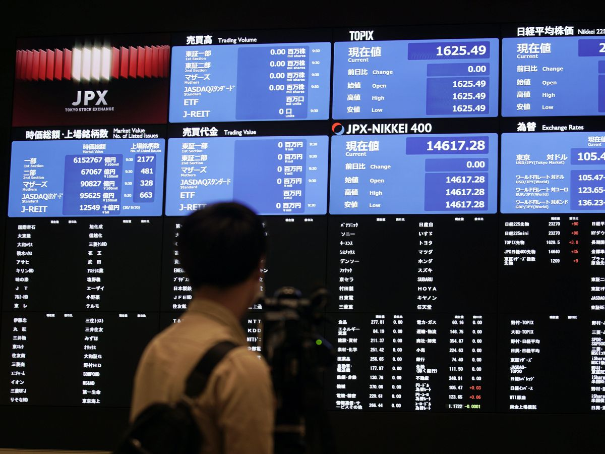 A blank stock board at Tokyo Stock Exchange