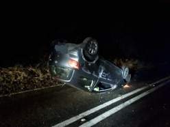 Car flips onto roof in Much Wenlock crash